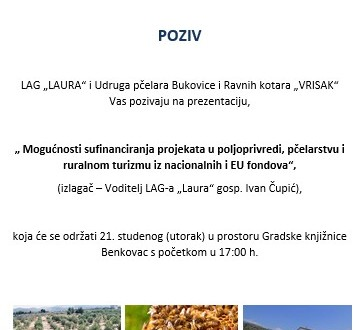 """Poziv na prezentaciju – """"Mogućnosti sufinanciranja projekata u poljoprivredi, pčelarstvu i ruralnom turizmu iz nacionalnih i EU fondova"""""""